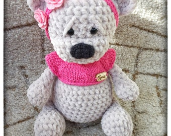 Handmade crochet plush teddy bear