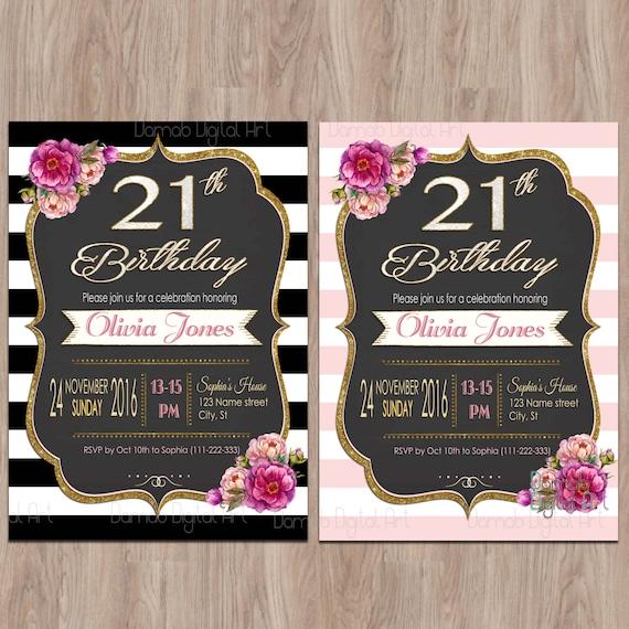 21 Cumpleaños Invitaciones Invitaciones De 21 Cumpleaños