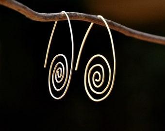 Handmade Jewelry Big Spiral Earrings Gold Filled Earrings Minimalist Contemporary Earrings Modern Earrings Light Free Shipping from Israel
