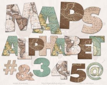 """Digital Alphabet Letters Clipart Clip Art: """"Maps Alphabet"""" digital alphabet, letters, number and signs with old maps"""