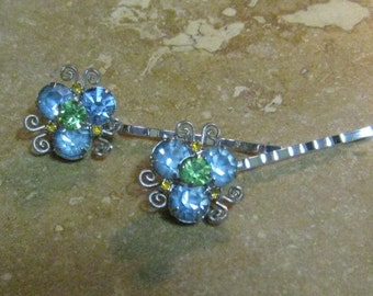 VINTAGE Something Blue Rhinestone Upcycled Hair pins, Wedding, Bride, Refurbished,pair