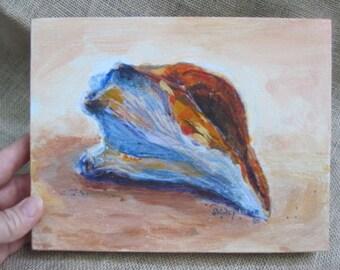 Sea shell painting on light coral background, 7x9 original, by Shirley Lowe, beach art, shell art, beach house art, beach love, shore art