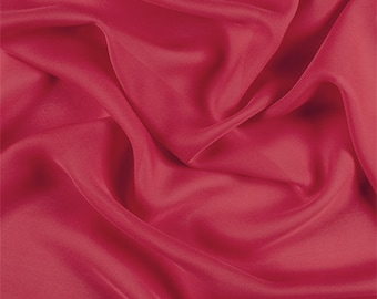 Bright Red Silk Double Georgette, Fabric By The Yard