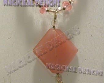 CHERRIES JUBILEE - Necklace, Earrings, Bracelet, SET, Cherry Quartz, quartz, pink, 14k G.F., pendant, semi-precious, gemstone,  statement