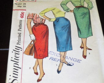 1950s One Yard Slim Skirts Pattern Simplicity 2191 Three Styles Classic 50s Wiggle Skirt Vintage Sewing Pattern Waist 24 Hip 33 Uncut
