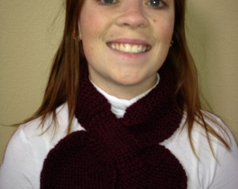 Knitted Lotus Leaf Scarf - Stays Put - Amazing Look to Keep You Warm In Terrific Colors - Burgandy