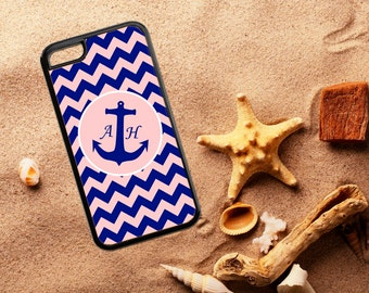 Preppy Nautical Phone Case. iPhone, iPod, Samsung Phone Case.  Chevron and Anchor Phone Case. Monogrammed Phone Case.