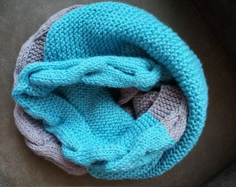 Hand knit bright  scarf