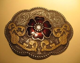 Cloisonne rote Blume Metall Gürtelschnalle