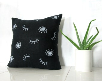 Black Linen White Eye Print Pillow Cover / Block Printed Decorative Throw Cushion Neutral Abstract Minimalist Various Sizes Bedding Accent