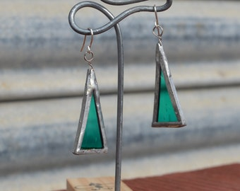 Stained glass dangling earrings