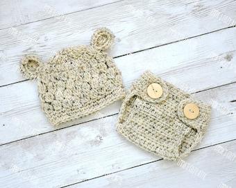 Baby bear hat, newborn boy hat, crochet baby hat, baby boy hat, newborn photo prop, baby boy, baby bear hat and diaper cover set, infant boy