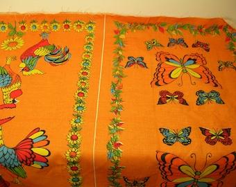 Vintage Tea Towel Fabric, Orange Cotton, Butterflies, Roosters, Cardinal