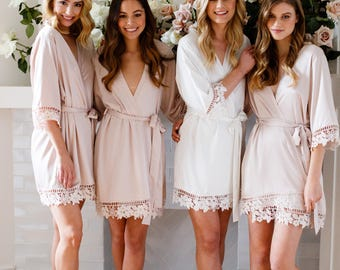 Lace Bridal Robe // Bridesmaid Robes // Robe // Bridal Robe // Bride Robe // Bridal Party Robes // Bridesmaid Gifts // Satin Robe // Lauren