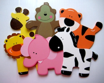 Assorted Wooden Animal Ornaments Monkey, Giraffe, Tiger, Lion, Pink Elephant and Zebra for Safari / Jungle Themed, Baby Room Decor, 6 pieces