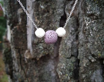 Floating Trio Lava Bead Diffuser Necklace