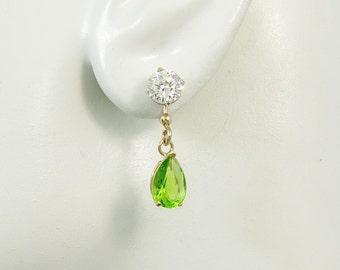 Earring Jackets 14K Solid Gold Dangle Pear Peridot Diamond Jacket Stud Gemstone Dangling Jackets for Post Earrings Gem Dangle JD14KPERI9x6P