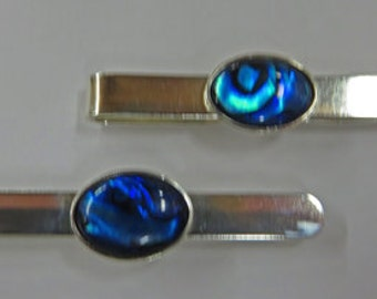 Tie Tacks - Abalone and Sterling Silver Tie Tacks - Paua Shell and Sterling Silver Men's Jewelry
