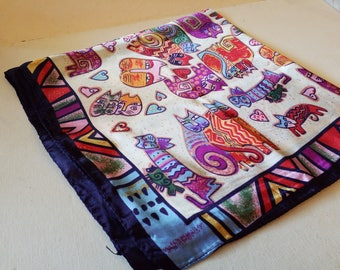 Laurel Birch like silk scarf, cat design