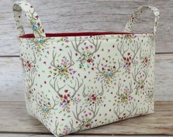 SALE / CLEARANCE - Storage Fabric Organizer Organization Bin Container Basket - Dear Stella - Antlers in Cream Fabric