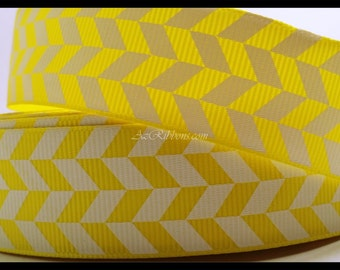 "Yellow and White Geometric Pattern Herringbone Print Grosgrain Ribbon 1"" Wide Scrapbooking HairBows Parties DIY Projects AZ148"