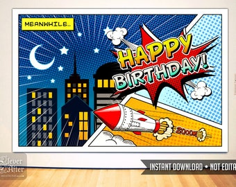 Superhero Backdrop Instant Download super hero poster comic book background cityscape birthday party banner comics printable sign