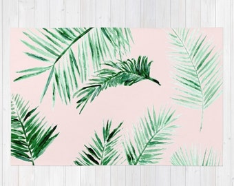 Pink Palm Leaf Area Rug, palm leaves rug, palm leaf area rug, pink area rug, light pink rug, blush pink rug, pink palm leaf rug
