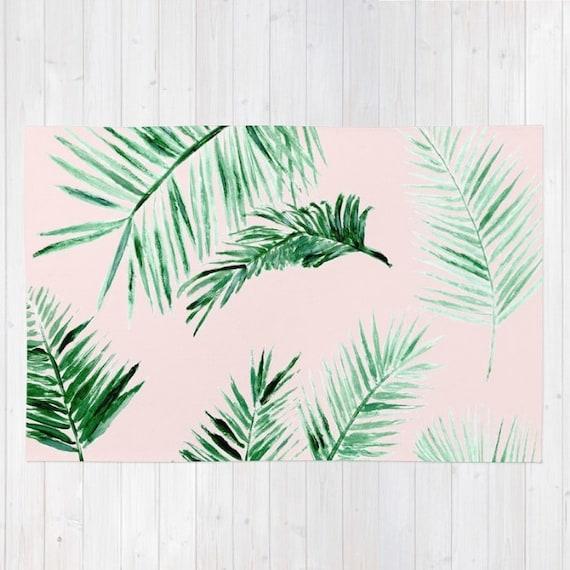 pink palm leaf area rug palm leaves rug palm leaf area rug. Black Bedroom Furniture Sets. Home Design Ideas