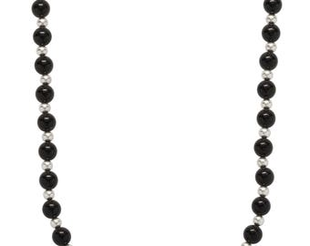 """8mm Polished Black Onyx Endless Necklace with .925 Sterling Silver Beads, 32"""" Long"""