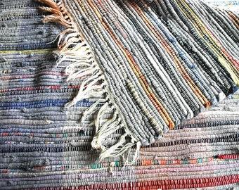 Vintage Rag Rug, 1930s Woven Rug, Primitive Farmhouse Decor, Multi Color Cotton Throw Rug, Hand Made Americana Folk Art, Country Decor