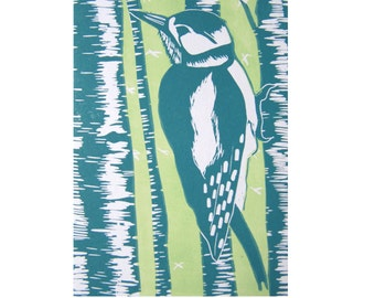 Linocut Postcard Woodpecker Nature Bird