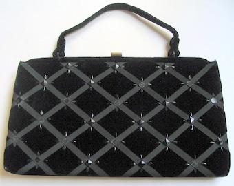 Vintage Black Velvet Evening Purse, Soure Handbag