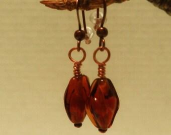 AMBER glass and Copper dangle earrings