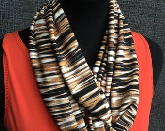 Tiger Scarf, Fall Scarf, Patterned Circle Scarf, Infinity Scarf, Striped Scarf, Gold Scarf, Unique Scarf, Brown Scarf, Woman Gift, Cowl