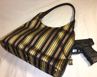 Black and Gold Stripe Concealed Carry Handbag Concealed Carry Purse