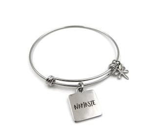 NEW Square Namaste Charm - Adjustable Stainless Steel Bangle Bracelet (SSBR255)