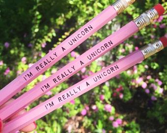 Pink I'm Really A Unicorn Pencils