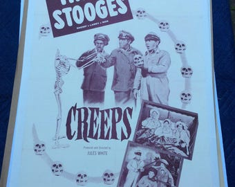 Three Stooges Vintage Original Film Poster 1956