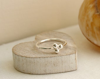 Sterling Silver Triple Pebble Stacking Ring, Stacking Ring, Pebble Ring