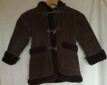 70er Jahre 80er Jahre unisex Kinder Mantel / Vintage / Mädchen Mantel/Winter Mantel / samt Mantel / braun Mantel / Jacke Kinder / 3-4 Jahre