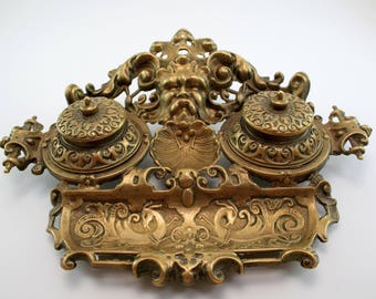 Solid brass antique French double inkwell with pen tray-Inkwell with Neptune or gargoyle face