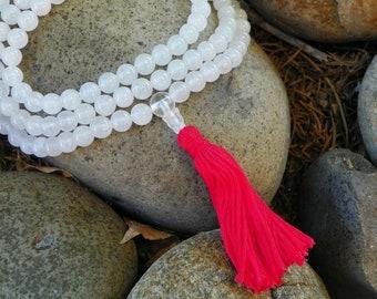Mala Necklace - Snow Quartz Full Mala