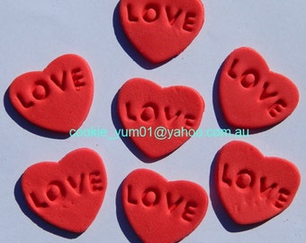 16 edible EMBOSSED LOVE HEARTS cake decorations cupcake wedding topper decoration party wedding anniversary birthday engagement valentine