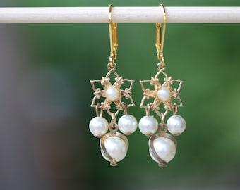 Wedding Earrings, Pearl Earrings, White, Gift, Dangle, Upcycled, Jennifer Jones, Gold, OOAK - Majestic