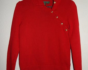 """Lauren 32"""" Bust Ralph Lauren Womens P/S Petite Small Red Cotton Thick Heavy Warm Pullover Sweater"""