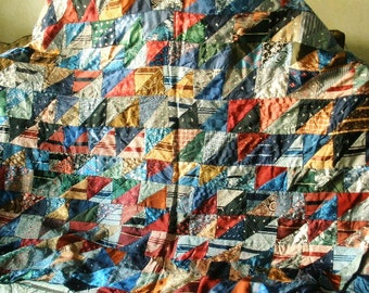 Vintage quilt mens ties silk rayon fabric folk art 1930s/ free shipping US
