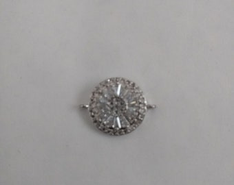 1 Beautiful Micro Pave Connector Bead. Small Connector. Silver Crystal Connector.