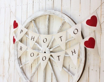 Photo Booth banner with red fabric hearts