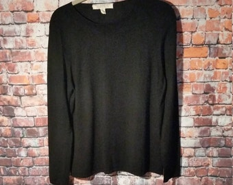 90's Black Top Blouse women's Size XL Belford Saks Fifth Avenue