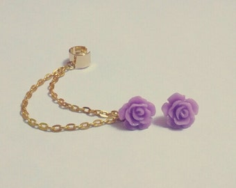 Violet Rose Chain Cartilage Earrings Set